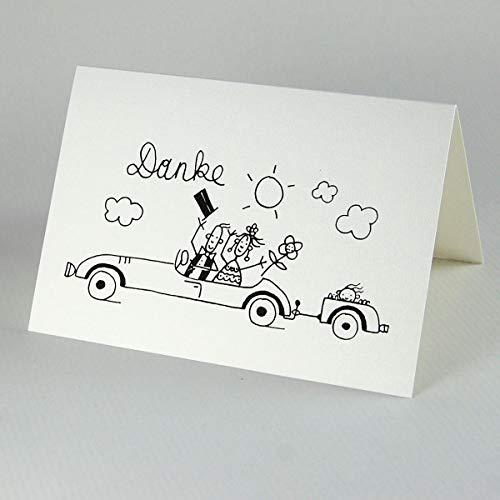 Danke - 10 witzige Karten zum Bedanken nach der Hochzeit: Brautpaar mit Nachwuchs fährt im Auto in die Flitterwochen, Klappkarten inkl. roten Kuverts, Zeichnung: Franz Basdera
