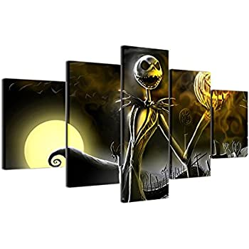 JESC-Canvas Prints Wall Art Pictures 5 Pieces Hallowmas Jack Skellington Painting Living Room Decor Nightmare Before Christmas (No Frame only Canvas, 30x50cmx2,30x70cmx2,30x80cmx1) …