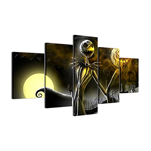 JESC-Canvas Prints Wall Art Pictures 5 Pieces Hallowmas Jack Skellington Painting Living Room Decor Nightmare Before Christmas (No Frame only Canvas, 30x50cmx2,30x70cmx2,30x80cmx1)