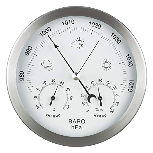 GardenMate 3 in 1 Weather Station for Indoor and Outdoor use - Barometer Thermometer Hygrometer - bimetallic with stainless steel frame - diameter 14 centimetre