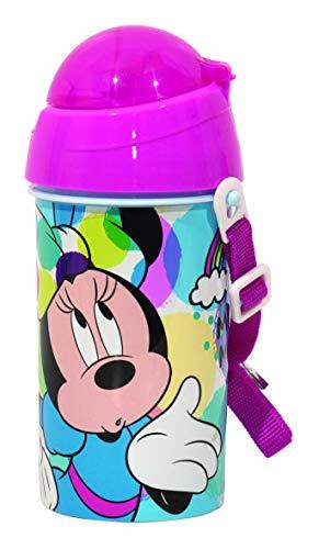 ML Botella de Agua Infantil, cantimplora Botella de Agua de plastico con Pajita para niños y niñas, cantimplora a Prueba de Fugas de Minnie para Levar a la Escuela y Deportes el Termo 500ML