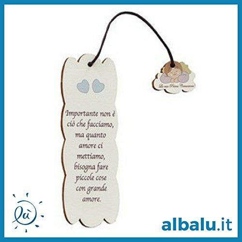 Sconosciuto Bomboniere Comunione Maschio | 6 Pezzi Segnalibro Legno Bambino Angioletto Comunione 5x15 cm con Frasi