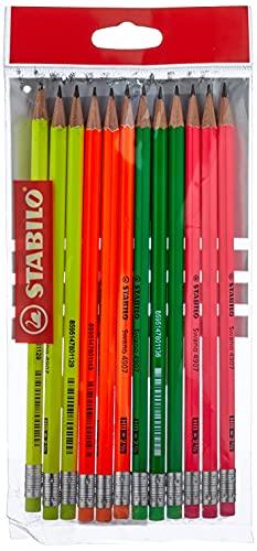 Scopri offerta per Matita in Grafite - STABILO swano fluo - con gommino - Eco Pack da 12 - Grad HB - Giallo/Verde/Arancione/Rosa