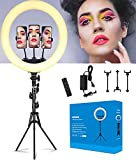 Ring Light with Stand and Phone Holder, Selfie Ring Light, LED Ring Light for Photography, Makeup and YouTube Video.Light Ring with 3 Light Modes (Black-14 inch)