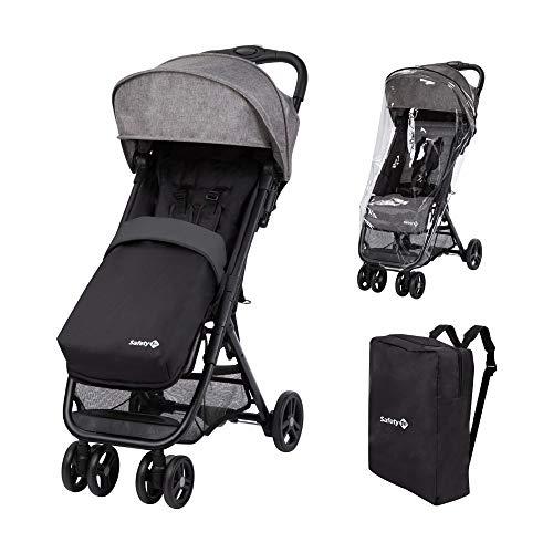 Safety 1st Teeny Comfort Pack, bestehend aus Teeny Kinderwagen, 2-in-1 Fußsack, Regenschutz & passender Tragetasche, geeignet ab der Geburt bis ca. 3 Jahre, Black Chic