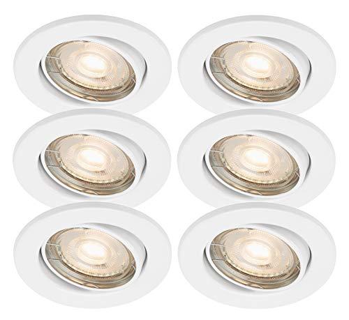 Preisvergleich Produktbild Trango 6er Set LED Einbaustrahler in Weiß Rund TG6729-066MOCOB Bad Einbauleuchte,  Deckenstrahler,  Einbauspots,  Deckenlampe,  Spots incl. 6x 5 Watt LED Modul Ultra Flach nur 3cm Einbautiefe