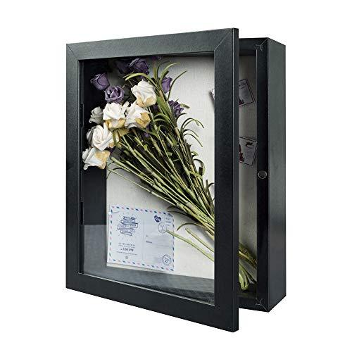 Egleson Tiefe Bilderrahmen 28 x 35 cm Schwarz 3D Fotorahmen zum Befüllen mit Magnetische Tür Objektrahmen Shadow Box als Deco Geschenk für Weihnachten oder Geburstag, 1 Stück