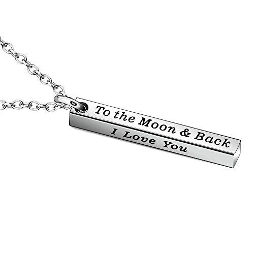 YONGHUI Collares con texto 'I Love You To The Moon And Back' para mujeres, hombres, familiares, parejas, cumpleaños, Navidad, San Valentín, joyas de plata