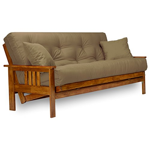 Nirvana Futons Stanford Futon Set - Full Size Futon Frame with Mattress Included (8 Inch Thick Mattress, Twill Khaki Color), More Colors & Larger Queen, Heavy Duty Wood, Popular Sofa Bed Choice