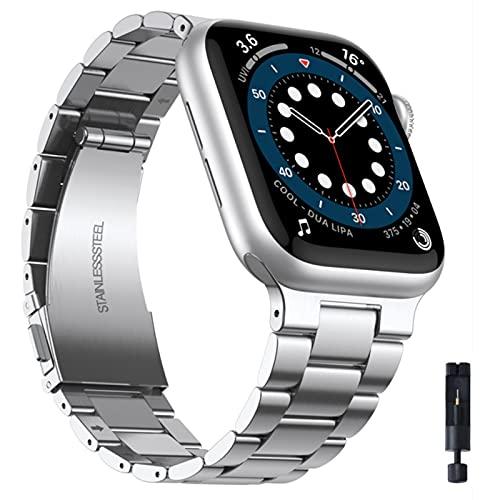Correa de acero inoxidable para Apple Watch 42 mm 38 mm 1/2/3/4 Banda de reloj de metal Banda de pulsera para iWatch Series 4 5 6 SE 44 mm 40 mm-Plata, Para 38 mm y 40 mm