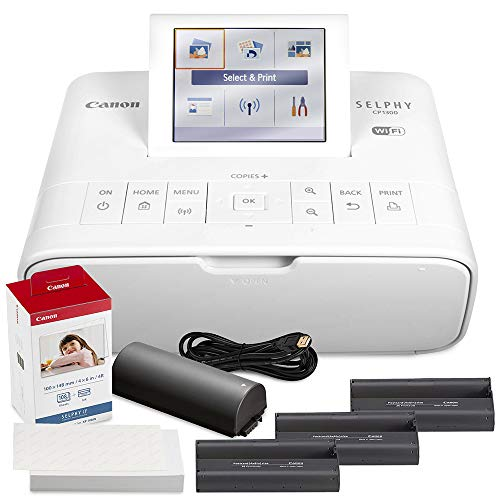 Canon SELPHY CP1300 Compact Photo Printer (White) with WiFi w/Canon Color Ink and Paper Set + Battery