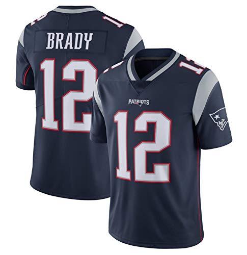 GOLOFEA Brady # 12 American Football Trikot Patrioten, Rugby Jersey Herren T-Shirt Bestickte Kurzarm Sport Top Schnelltrocknende Sportbekleidung-Darkblue-XL(185~190CM)