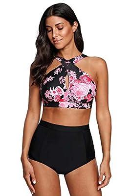 Dellukee Women's Retro Ruffle Floral Print High Waisted Swimsuit 2PCS Bikini Sets Beachwear