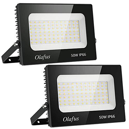 Olafus 2er 50W LED Strahler Außen, 5500LM LED Scheinwerfer Aussenstrahler, IP66 Wasserdicht LED Fluter, 5000K Tageslichtweiß LED Flutlicht, Aussenbeleuchtung für Haus, Garage, Sportplatz