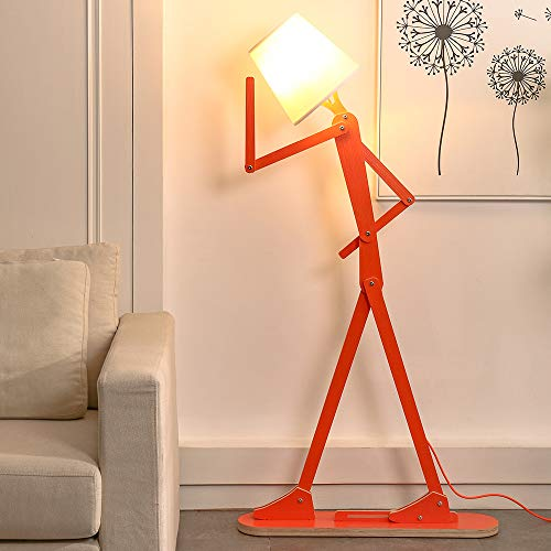 HROOME Cool Creative Floor Lamps Wood Tall Decorative Reading Standing Swing Arm Light for Kids Boys Girls Living Room Bedroom Office Farmhouse - with LED Bulb (Orange)
