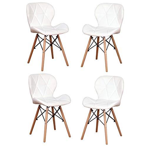 EGOONM Sillas de Comedor Nordicas Pack 4, Silla de Oficina Suave para la Cena, Estudio, Trabajo, Maquillaje (Blanco-4 sillas)