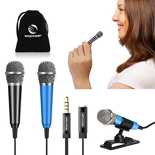 [2PCS] Mini Karaoke Microphone, Wootrip Mini Voice Recording Microphone Portable Karaoke Mic for Singing, Recording, Voice Recording(Black/Blue)