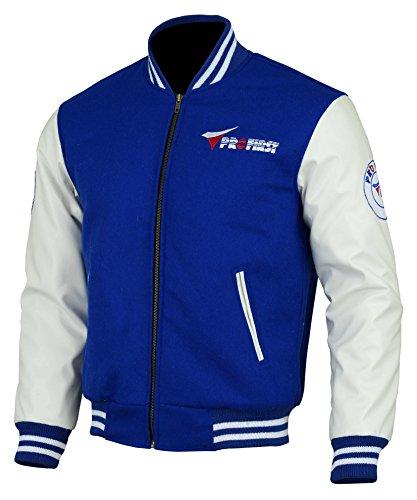 jkt-006 | Herren Jacke Varsity Baseball oberen College Jumper Letterman Coat - Wolle Body & Leder Sleeve (schwarz & blau) Gr. XX-Large, Blau
