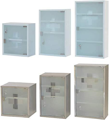 Style home Medizinschrank Arzneischrank Edelstahl Erste Hilfe Schrank Medikamentenschrank Glastür mit Schloss Hausapotheke 2 Fächer (Weiß, 30x30cm)