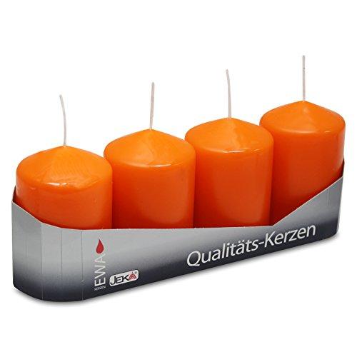 OLShop AG 3er Pack Stumpenkerzen orange, ca. 50 x 80 mm (3 x 4 Stück) Kerze Kaminkerze Laternenkerze Dekoration
