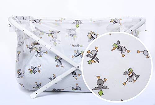 Bibabad Bañera plegable para bebé, lindo estampado de pato de dibujos animados, 70-90 cm, antideslizante, bañera portátil para niños de 1 a 8 años, accesorios de baño para bebés pequeños
