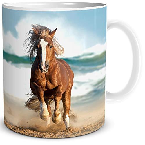 TRIOSK Tasse Pferd am Meer mit Pferdemotiv Pferde Strand Maritim Geschenk für Pferdefreunde Pferdeliebhaber Mädchen Frauen Kinder