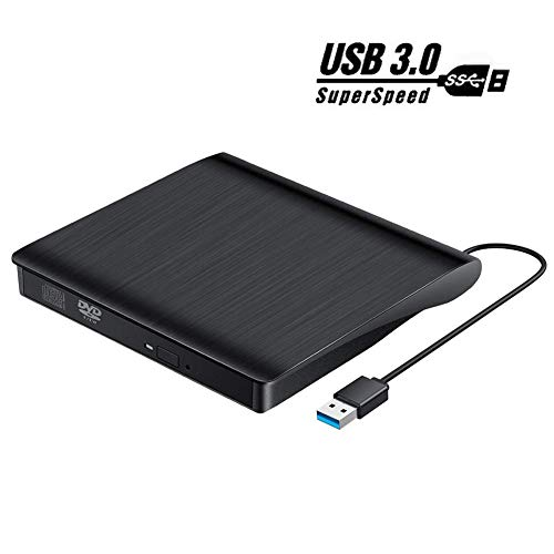 Lecteur CD DVD Externe USB 3.0, Graveur CD DVD Externe Portable Et Mince et Léger CD/VCD /-RW/ROM Compatible Windows 10/8 / 7 / XP/Vista, Laptop, Mac, Macbook Air/Pro, Desktop, PC (Noir)