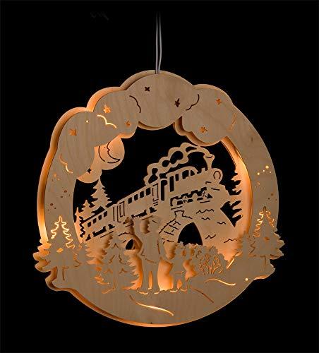 ERM Holzmanufaktur 3D Fensterbild Eisenbahn beleuchtetes Fensterbild aus Holz Weihnachtsdeko Weihnachten