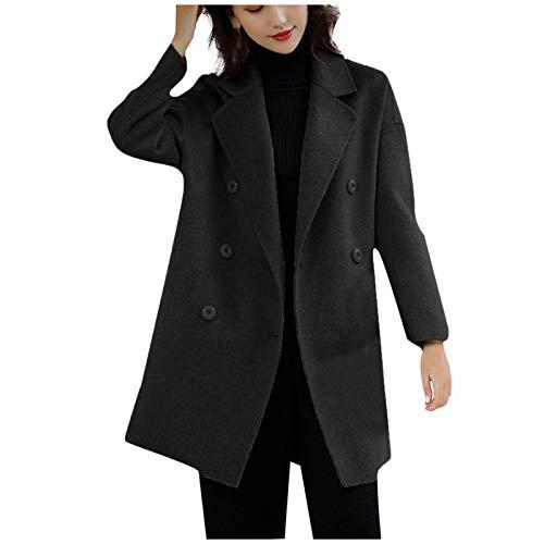 Orderking Mantel für Damen Lang Wollmantel GroßE GrößEn Trenchcoat Warm Frauenmantel BeiläUfige Business Blazermantel mit Eingekerbter-Kragen Taschen Lose Outwear Winter