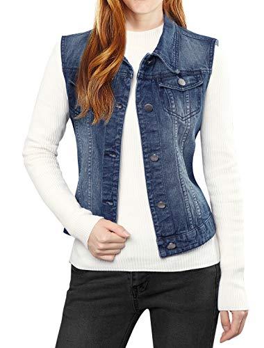 Allegra K Women's Washed Denim Buttoned Vest w Flap Pockets Large Dark Blue