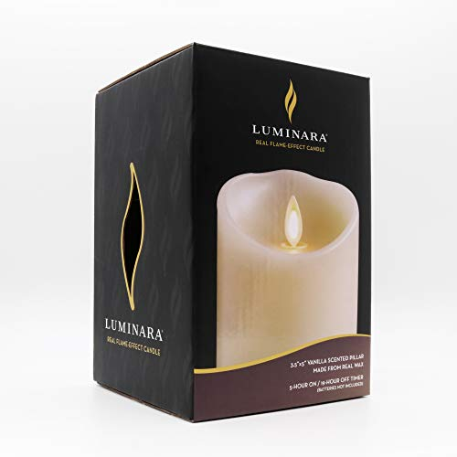 Luminara Flameless Pillar Candle (5.3 Inch, Ivory White); Moving Flame LED Battery-Operated Vanilla Scented Candle