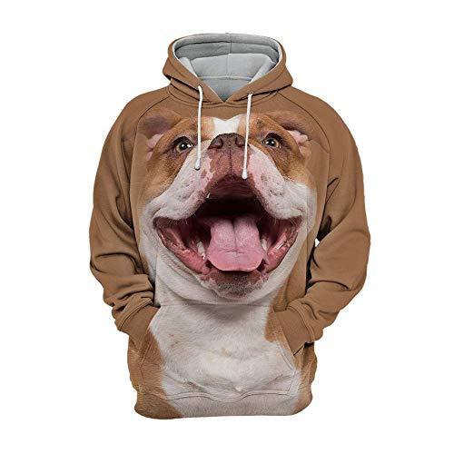 Iceiceice Unisex 3D Graphic Animals Dogs Jungen Kapuzenpullover Bunt Teens Hoodie Kinder Langarm Pulli mit Kapuzen Sweatshirt Pullover Hunde Englisch Bulldogge...