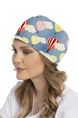 Owlet Premium OP-Haube, OP-Kappe, Kopfhaube, Scrubs, Bandana, Medical Cap - Heißluftballons, blau
