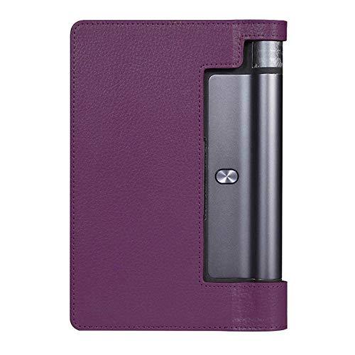 Flip Stand Funda de Cuero PU para Lenovo Yoga Tab 3 8.0 850F Yoga Tab3 8 YT3-850F YT3-850M Funda de Tableta Capa Funda Glass-Púrpura
