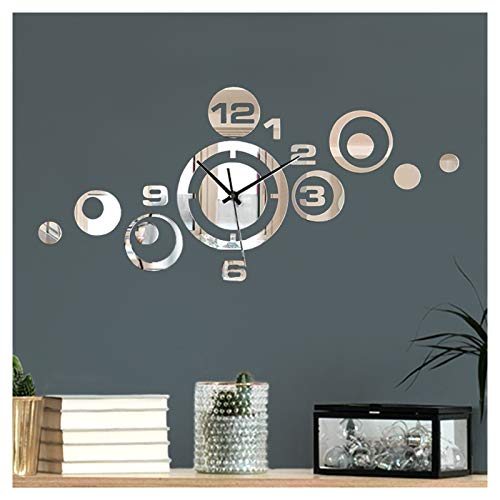 Wandaro Moderne Design Wanduhr mit Spiegel I (BxH) 53 x 24 cm I Dekouhr Uhrwerk 3D Design Aufkleber selbstklebend Wanddeko Wandaufkleber Wandtattoo W3484