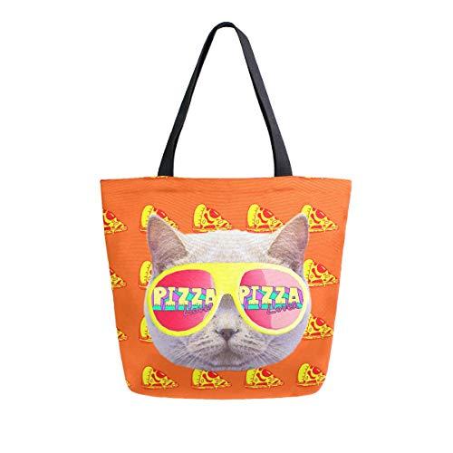 Hunihuni Canvas-Tragetasche für Pizza, Katze, groß, lässig, wiederverwendbar, Einkaufstasche, Schultertasche für Damen und Mädchen