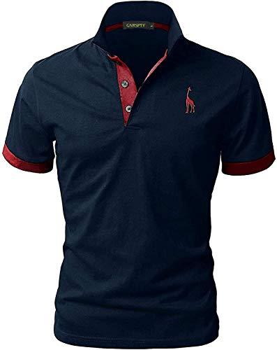 GNRSPTY Poloshirt Herren Kurzarm Polohemd Giraffe Stickerei Einfarbig T-Shirt S-XXL, Blau+Rot,L