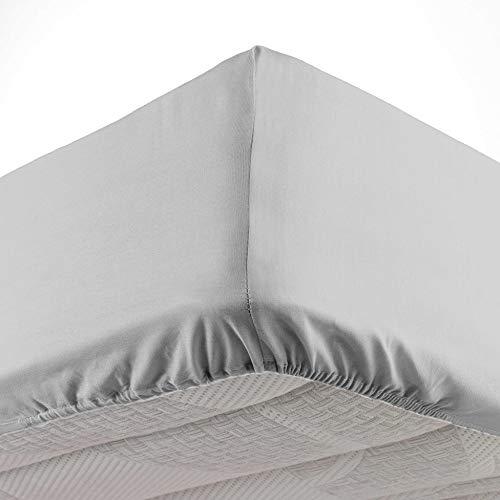 douceur d'intérieur 1642660 Drap Housse 2 Personnes, Coton, Galet, 180 x 200 cm
