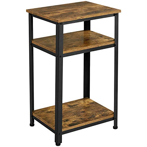 Yaheetech Tall Bedside Table/Nightstand with Storage Shelf, Industrial Telephone Table, Sofa Side Table for Small Spaces, Living Room, Bedroom, Rustic Brown