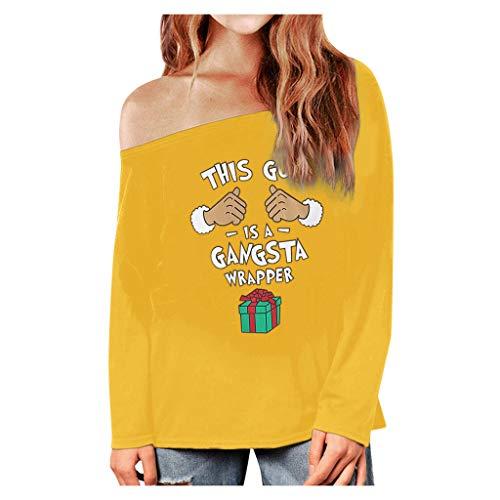 Zylione Damen Weihnachten Langarm Sweatshirt Pullover Herbst Winter T-Shirt Bluse Schulter Fun...