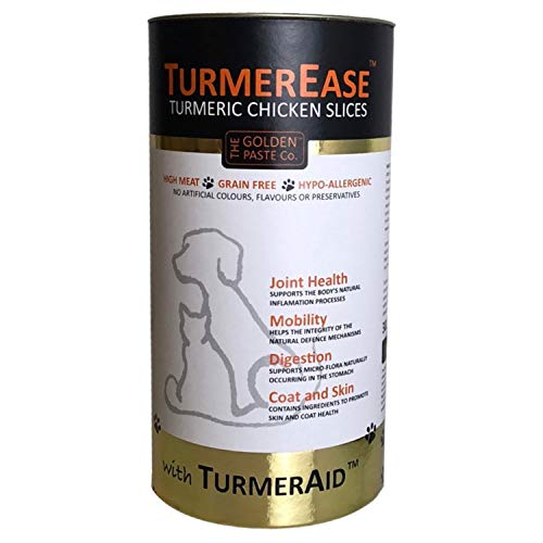 The Golden Paste Company TurmerEase Chicken Slices Dog & Cat Joint Health, Mobility & Digestion Supplement Treat with Tumeric, Linseed & Yucca - 300g