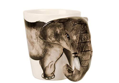 Elefant Kaffeetasse handgefertigt Keramik Grau 225g (10cm x 8cm)