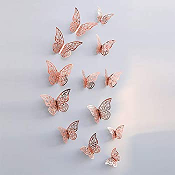 ChezMax Metallic 3D Wall Stickers Reflective Butterfly Mural Decals for Decorations Background Holiday Christmas Kids Girl s Bedroom Decor Pink 24 pcs