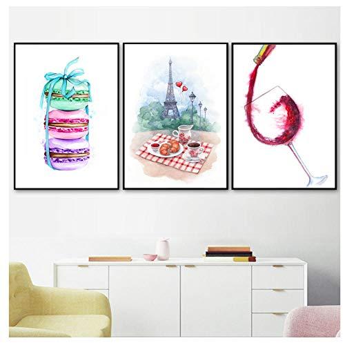 WENJING Kleur Paris Macaron koffie Croissant wijn Nordic poster en druk muurkunst canvas schilderij muurschildering keuken Home Decor-30X45Cmx3 stuks Frameloze