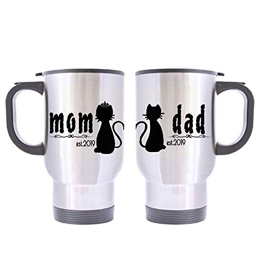 Gift Coffee Mug Cup Cat Parents Cat Mom And Cat Dad Est.2019 Coffee Mugs Personalized Date Silver 14 Oz Travel Mug Bottle(Two Sides)
