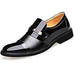 Blivener Men's Tuxedo Patent Leather Dress Shoes Slip-on Oxfords