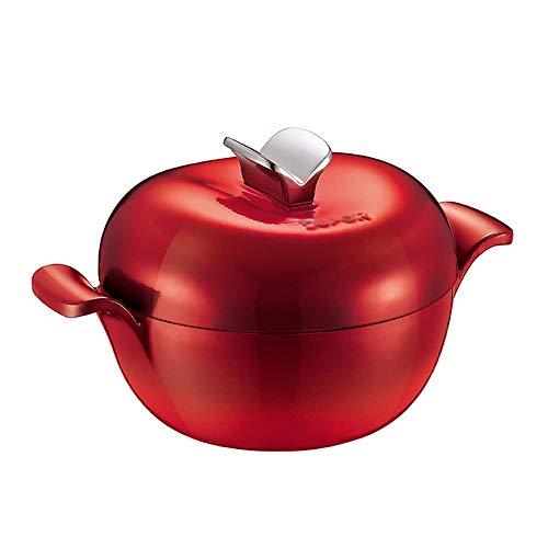 DYB Plat de Cocotte Cocotte en Fonte Binaural Art de la Table avec Couvercle Robuste émail Type de revêtement d'Apple marmite à Soupe, Cuisinière à Induction Cuisinière à gaz General (Color : Red)