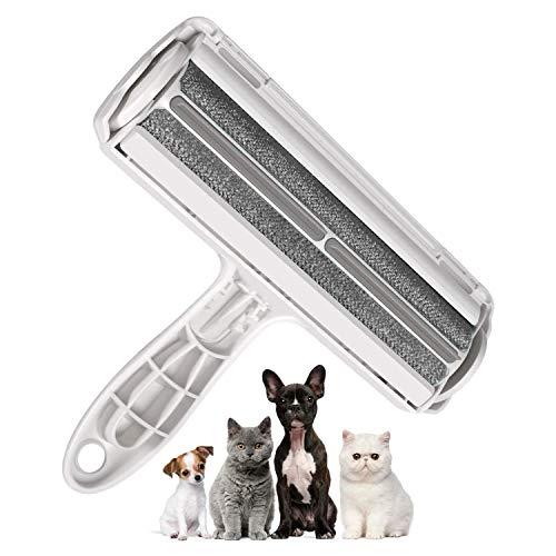 Michet - Rodillo para eliminar el pelo de los animales y los pelos de los gatos, reutilizable, para ropa, sofá, cama y alfombra (gris)
