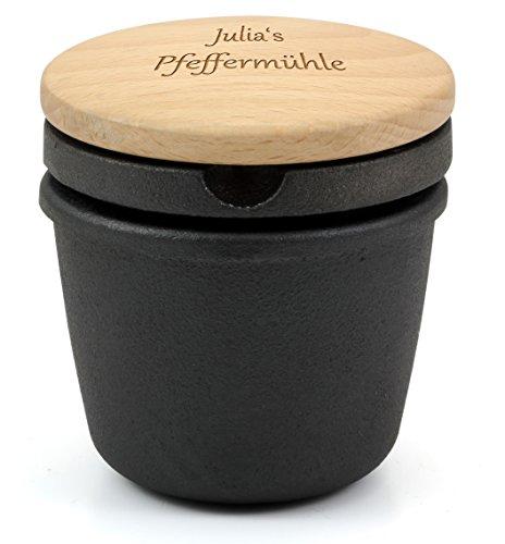 Zassenhaus Gewürzreibe aus Gusseisen 076080 mit extra Behälter, mit individueller Gravur auf dem Holzdeckel
