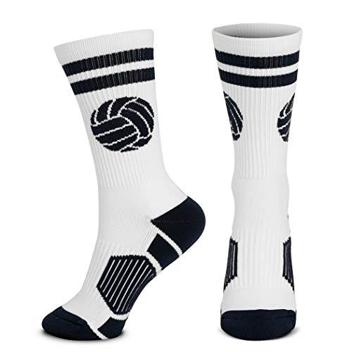 Volleyball Woven Mid-Calf Socks | Classic Ball | White & Black